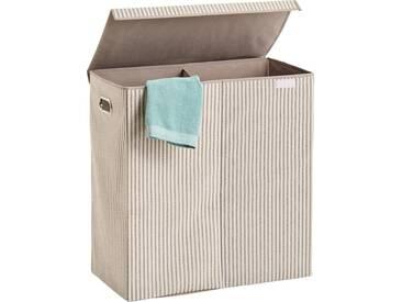 Zeller Present Zeller Wäschesammler »Stripes«, 2-fach, Vlies, beige, natur, Maße(B/T/H):(61,5/31/63), natur