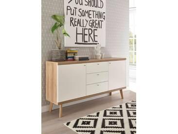 andas Sideboard »Merle« im skandinavischen Design, Breite 160 cm, braun, Eiche Riviera NB/ Weiss matt