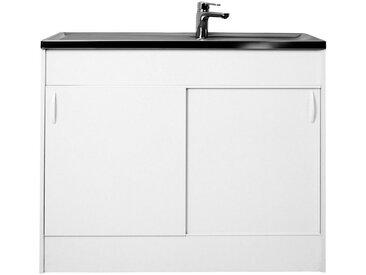 Spülenschrank mit 2 Schiebetüren, B/T/H: 100/50/85 cm, weiß, Tiefe 50 cm, weiß