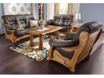 Max Winzer® Polstergarnitur »Texas«, mit dekorativem Holzgestell, 2-tlg., braun, braun