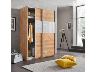 Wimex Schwebetürenschrank »Bramfeld« mit Glaselementen und zusätzlichen Einlegeböden, natur, Höhe: 198 cm, Breite: 135 cm