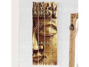 Bilderwelten Wandgarderobe Holz Hochformat »Top 8 Garderoben in Palettenoptik«, bunt, Motiv: Vintage Buddha, Haken chrom, Farbig