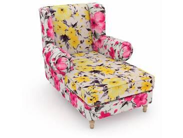 Max Winzer® build-a-chair XXL Ohrensessel »Madeleine«, zum Selbstgestalten, gelb, Korpus: Microvelours Blüte pink, Microvelours Blüte gelb