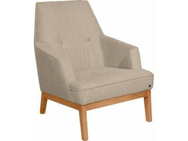 TOM TAILOR Sessel »COZY«, im Retrolook, mit Kedernaht und Knöpfung, Füße Buche natur, natur, ecru TUS 1