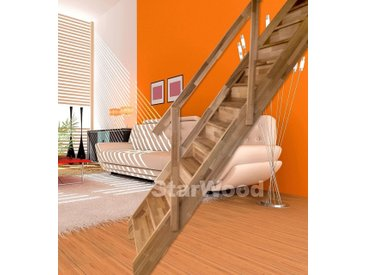 Starwood STARWOOD Raumspartreppe »Rhodos«, geschl. Stufen, gerade, Holzgeländer rechts, natur, gerade, natur
