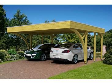 Skanholz SKANHOLZ Set: Doppelcarport »Friesland 8«, BxT: 557x555 cm, grün, 469 cm, grün/braun