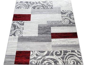 Paco Home Teppich »Sinai 053«, rechteckig, Höhe 13 mm, karierter Kurzflor mit Ornamenten, rot, rot