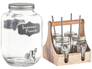 Zeller Present ZELLER Getränkespender und 4 Trinkgläser, Set, silberfarben, glasklar/silber