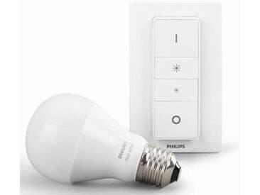 Philips Hue LED-Lichtsystem, E27, Warmweiß, smartes LED-Lichtsystem mit App-Steuerung LED Leuchtmittel + Schalter im Set, weiß, weiß