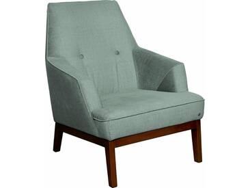 TOM TAILOR Sessel »COZY«, im Retrolook, mit Kedernaht und Knöpfung, Füße nussbaumfarben, grün, celadon STC 3