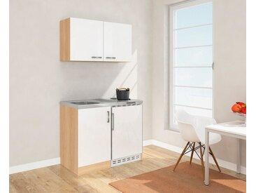 Miniküche mit Duo-Kochplattenfeld und Kühlschrank, Breite 100 cm, weiß, ohne Aufbauservice, weiß/eichefarben