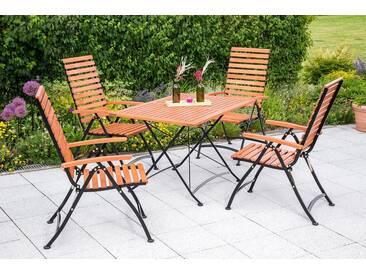 MERXX Gartenmöbelset »Schloßgarten«, 5tlg., 4 Sessel, Tisch, klappbar, Eukalyptusholz, natur, natur, natur