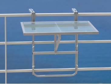 MERXX Balkonhängetisch Stahl/Glas, klappbar, silberfarben, 60 cm x 40 cm, silberfarben
