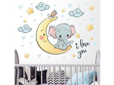 Bilderwelten Wandtattoo »Elefant Mond I love You«, bunt, Farbig