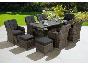 KONIFERA Gartenmöbelset »Kenya«, 23-tlg., 6 Sessel, 2 Hocker, Tisch, Polyrattan/Akazie, braun, braun