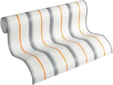 Esprit Vliestapete, »fein strukturierte Kids Tapete Tractors Streifentapete«, bunt, grau;orange;weiß