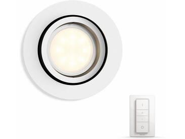 Philips Hue LED Einbaustrahler »Milliskin«, 1-flammig, Smart Home, weiß, 1 -flg. /, weiß