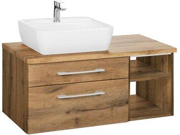 HELD MÖBEL Held Möbel Waschtisch »Davos«, Breite 90 cm, braun, Becken links, wotaneichefb.