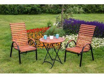 MERXX Gartenmöbelset »Schloßgarten«, 3tlg., 2 Sessel, Tisch, stapelbar, Eukalyptusholz, natur, natur