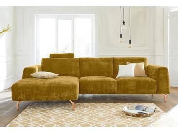 Guido Maria Kretschmer Home&Living GMK Home & Living Polsterecke »Logge«, gelb, Recamiere links, mit Messingfüßen, curry