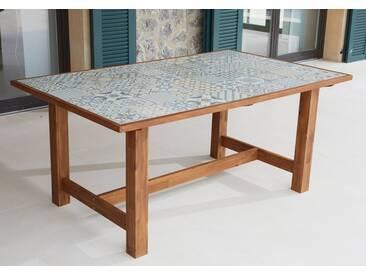 MERXX Gartentisch »Torino«, Keramikfliesentisch, Akazie, 172x105 cm, braun, 172 cm x 105 cm, braun/bunt