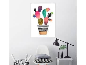 Posterlounge Wandbild - Elisabeth Fredriksson »Happy Cactus«, weiß, Poster, 60 x 80 cm, weiß