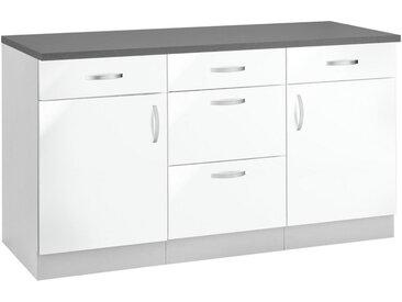 wiho Küchen Unterschrank »Amrum« 150 cm breit, weiß, Weiß Glanz/Hellgrau