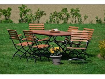 MERXX Gartenmöbelset »Schloßgarten«, 7tlg., 6 Sessel, Tisch, klappbar, ausziehbar, Eukalyptus, natur, natur
