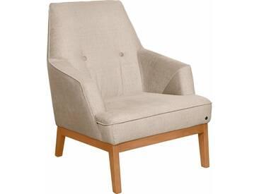 TOM TAILOR Sessel »COZY«, im Retrolook, mit Kedernaht und Knöpfung, Füße Buche natur, weiß, ivory STC 1