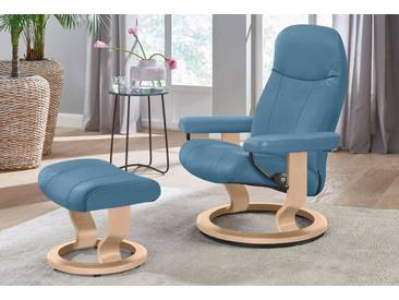 Stressless® Set: Relaxsessel mit Hocker »Garda« mit Classic Base, Größe S, mit Schlaffunktion, blau, Fuß naturfarben, sparrow blue
