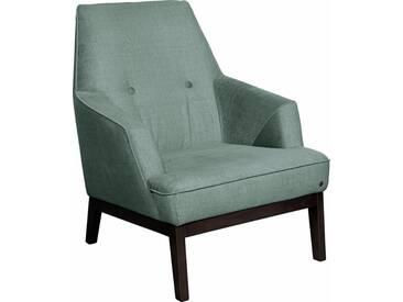 TOM TAILOR Sessel »COZY«, im Retrolook, mit Kedernaht und Knöpfung, Füße wengefarben, grün, celadon STC 3