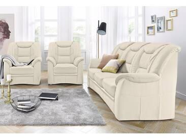 RAUM.ID Garnitur, natur, Set: 3-Sitzer + 2 Sessel, creme