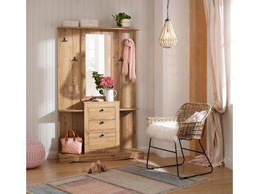 Home affaire Kompaktgarderobe »Norma« mit Spiegel und vielen Ablageflächen, braun, eichefarben