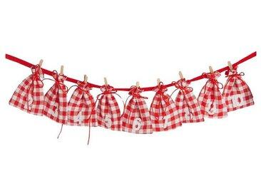 Hotex Adventskalender Girlande Beutel rot/weiß kariert, 185 cm
