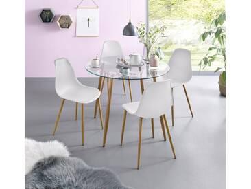 Essgruppe, Runder Glastisch mit 4 Stühlen (Kunststoffschale), weiß, Tisch rund, Kunststoffschale weiss