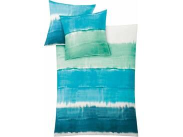Kleine Wolke Bettwäsche »Long Beach«, mit breiten Streifen, grün, 1x 155x220 cm, Mako-Satin, türkis