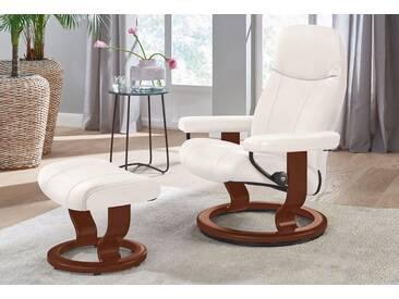 Stressless® Set: Relaxsessel mit Hocker »Garda« mit Classic Base, Größe S, mit Schlaffunktion, weiß, Fuß braun, snow