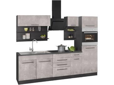 HELD MÖBEL Küchenzeile »Tulsa«, ohne E-Geräte, Breite 270 cm, grau, betonfarben