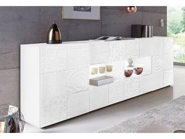 LC »Miro« Sideboard, Breite 241 cm mit dekorativem Siebdruck, weiß, ohne Aufbauservice, Weiß Hochglanz Lack mit Siebdruck