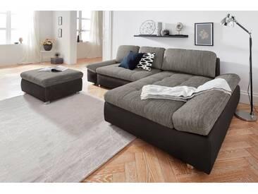 sit&more Ecksofa »Fabona«, Bettkasten und Armteilfunktion, schwarz, 282 cm, Recamiere beidseitig montierbar, schwarz/dunkelgrau