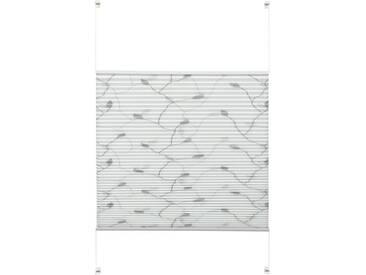 GARDINIA Plissee »EASYFIX Plissee Dekor mit 2 Bedienschienen«, Lichtschutz, ohne Bohren, Fixmaß, weiß, zweiseitig verschiebbar, Lichtschutz, weiß-grau