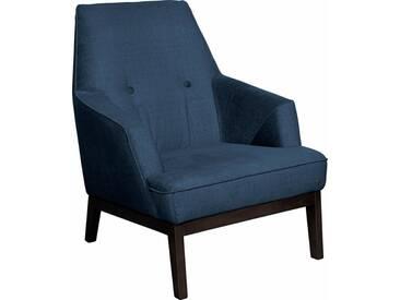 TOM TAILOR Sessel »COZY«, im Retrolook, mit Kedernaht und Knöpfung, Füße wengefarben, blau, ink blue STC 6