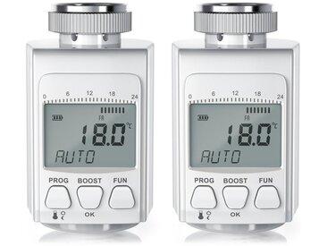 BEARWARE Bearware digitales Heizkörperthermostat »inkl. 3 Adapter / intelligenter Eco/Boost-Modus«, weiß, 2x Thermostate