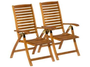 MERXX Gartenstuhl »Paraiba«, (2er Set), Akazienholz, verstellbar, braun, 2 Stühle, braun/holzoptik