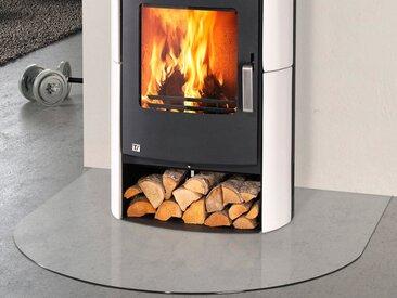 Glasbodenplatte für Kaminöfen , halbrund, 120x120cm, zum Funkenschutz, weiß, 120 cm x 120 cm, weiß