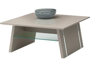 LEONARDO Couchtisch »CUBE«, mit Ablage, mit feinen Chromakzenten, Breite 90 cm, weiß, Tischplatte: Sicherheitsglas, Palazzo