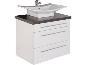 MARLIN Waschtisch »Laos 3110«, Breite 80 cm, Becken mittig, weiß, Aufsatzbecken »BELLA«, Keramik