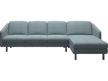 Stressless® 3-Sitzer Trio mit Longseat »Eve« mit geraden Edelstahlfüßen in 2 Höhen, grau, Stahlfuß rund, Höhe 18 cm, dark grey Q2