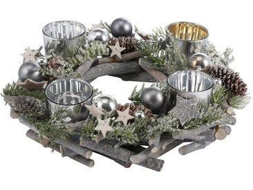 Adventskranz, aus Echtholz für 4 Teelichter, Ø 30 cm, grau, grau-grün-silberfarben