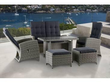 KONIFERA Gartenmöbelset »Monaco«, 12-tlg., 2er Sofa, 2 Sessel, 2 Hocker, Tisch, Polyrattan, grau, grau